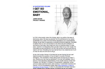 Column authored by James Features In Architecture Foundation Newsletter